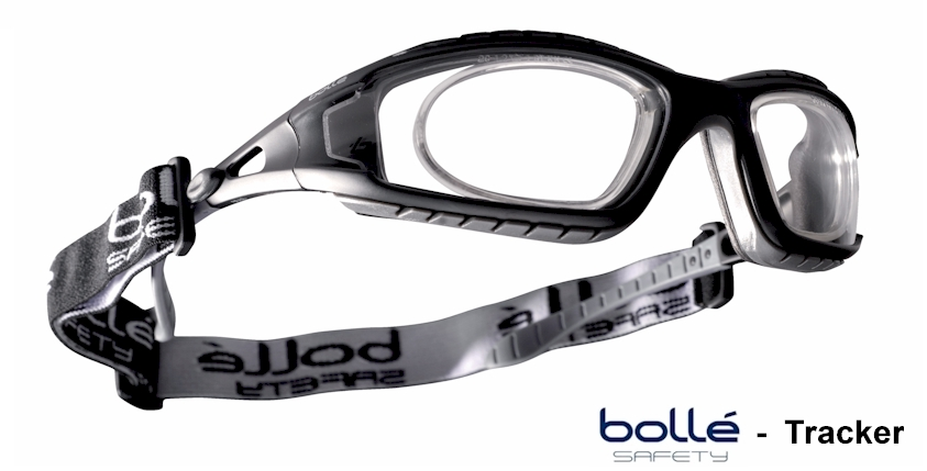 Bolle Tracker EN166F / 166B if worn with strap (Clear) with  prescription insert