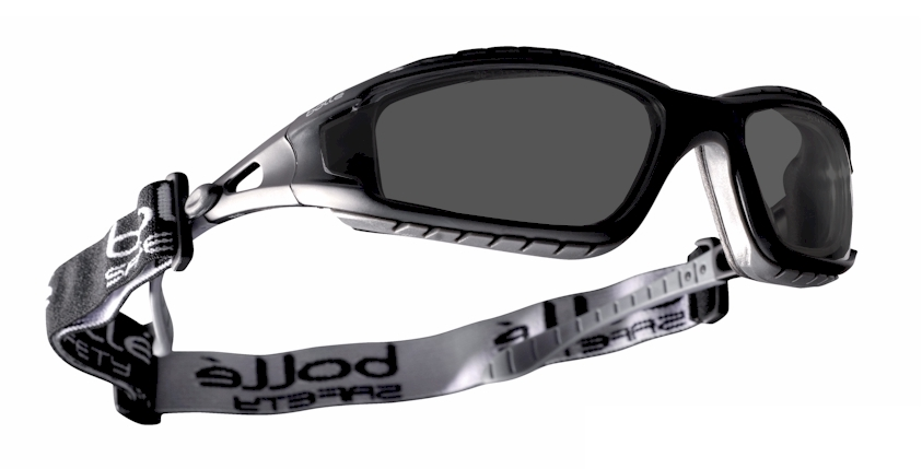 Bolle Tracker EN166F / B worn with strap (Tinted) with  prescription insert