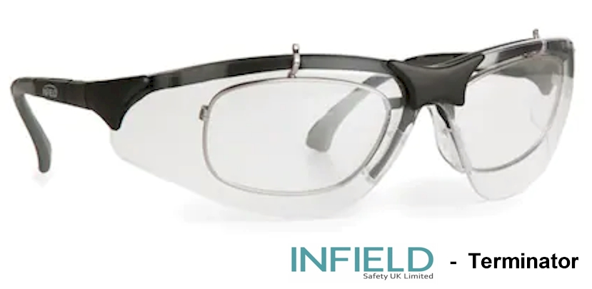 INFIELD Terminator EN166F Prescription safety glasses (15 degree wrap tilt)