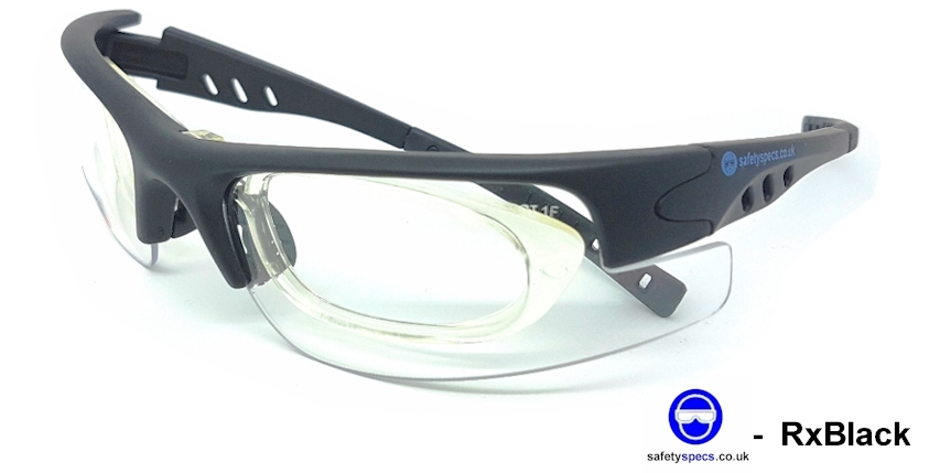 RxBlack EN166F (Clear) with  prescription insert