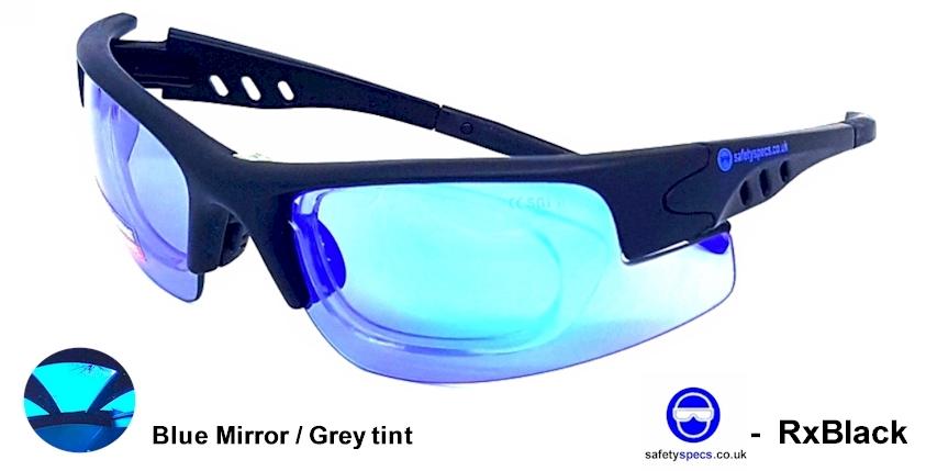 RxBlack EN166F Mirror tinted with  prescription insert